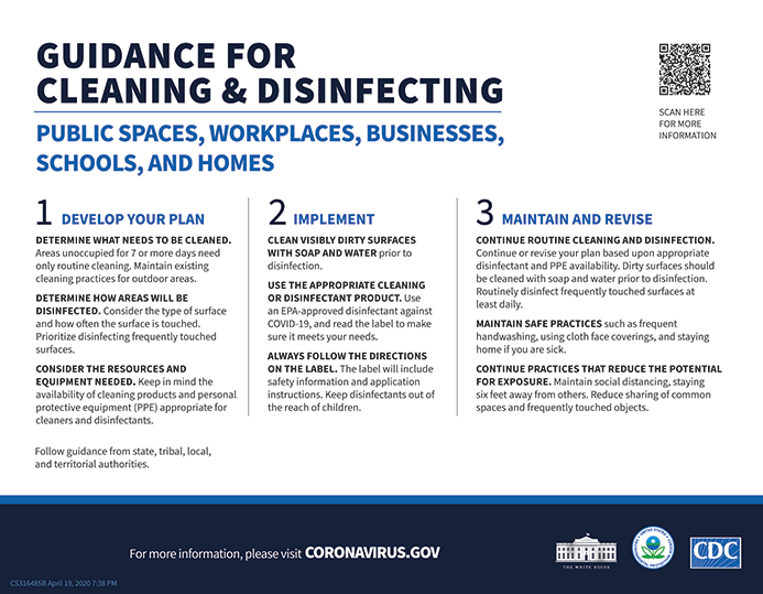 CDC & EPA Cleaning and Disinfecting 1 of 2