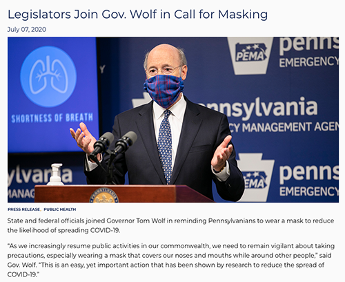 Governor Wolf Face Coverings 07-07-20