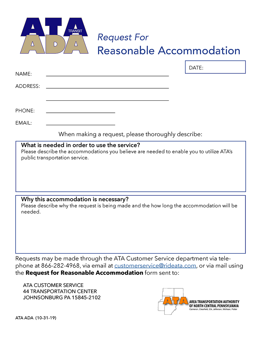 FORM ATA ADA Reasonable Accomodation